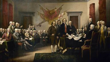 leaders presenting the Declaration of Independence