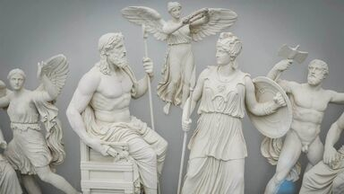 classical Greek sculptures of gods and goddesses