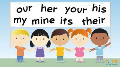 children display possessive pronoun banner