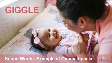 onomatopoeia example of vocal sound word giggle