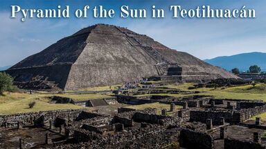 Pyramid of the sun in Teotihuacan park of Mexico