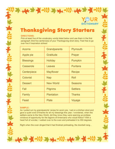 Thanksgiving word game story starters