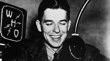Sportscaster Ronald Reagan in Des Moines, Iowa 1934