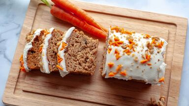Easter tradition carrot cake on cutting board