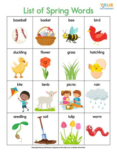 list of spring words