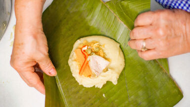 wrap tamale in banana leaf
