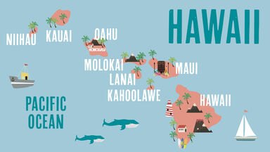 state of hawaii with islands labeled