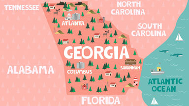 state of Georgia on map for kids