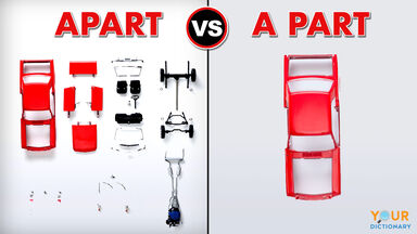 apart vs a part example with car parts