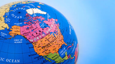 North America shown on world globe