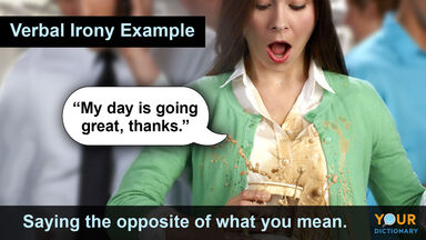 verbal irony example with woman spilling coffee