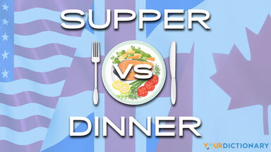 supper vs dinner with flags behind place setting