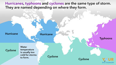 typhoon vs hurricane examples on world map