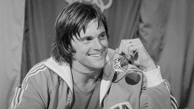 Bruce Jenner holding gold medal 1976 Olympics