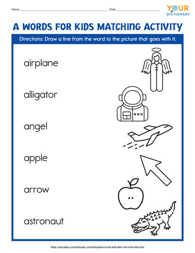a words for kids matching activity printable
