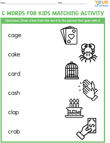 c words for kids matching activity worksheet