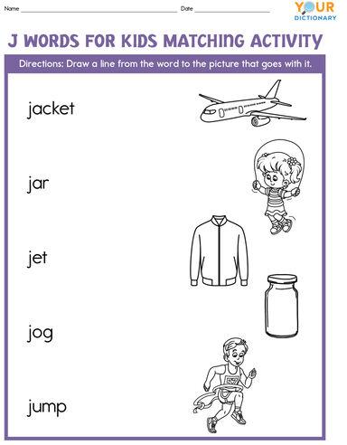 j words for kids matching activity worksheet
