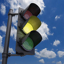 Yellow stoplight as examples of risk