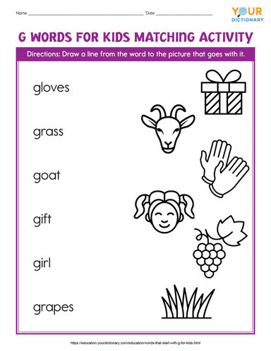 g words for kids matching activity printable
