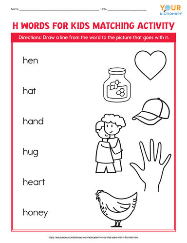 h words for kids matching activity printable