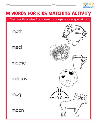 m words for kids matching activity