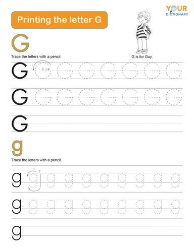 tracing the letter g worksheet