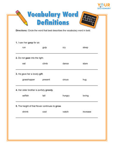 vocabulary word definitions for letter g worksheet