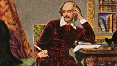 William Shakespeare writing at desk