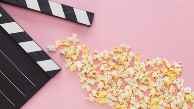 movie slate and popcorn