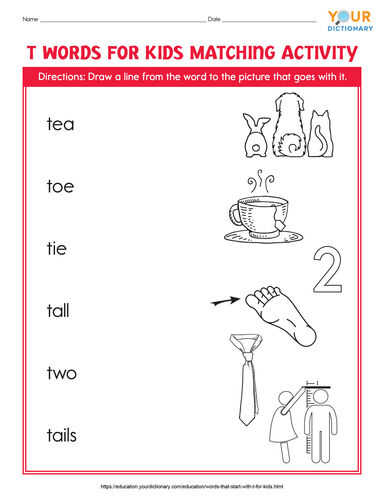 t words for kids matching activity printable