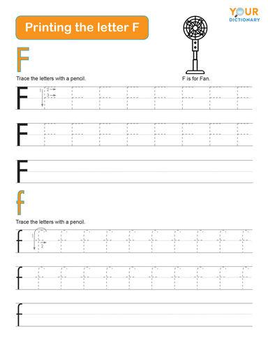 kindergarten tracing the letter f worksheet
