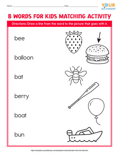 b words for kids matching activity