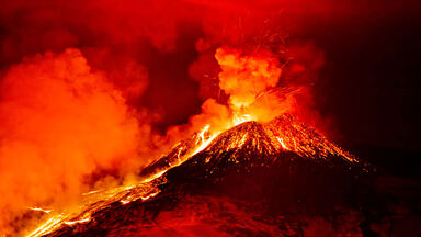 volcano erupting in Milo, Italy