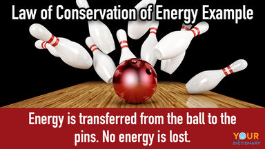 Bowling ball hitting pins as law of conservation of energy examples