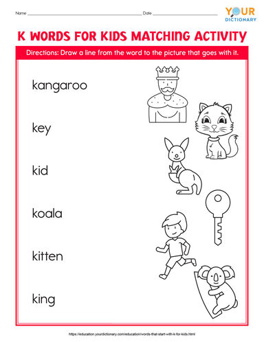 k words for kids matching activity