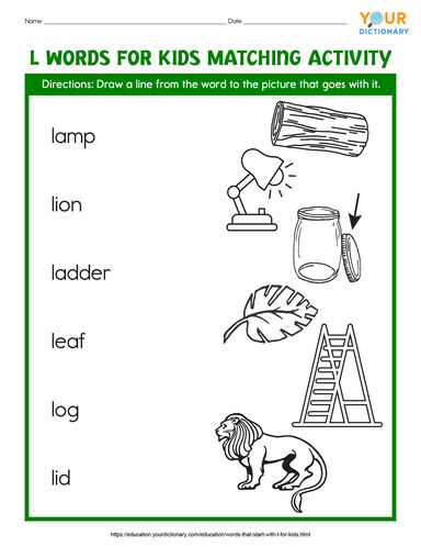 L words for kids matching activity