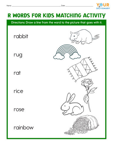 r words for kids matching activity