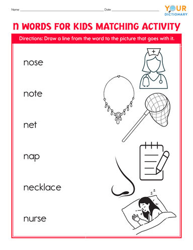 n words for kids matching activity