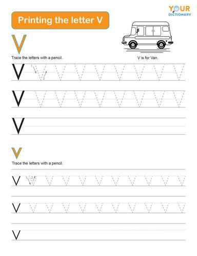 tracing the letter v practice worksheet