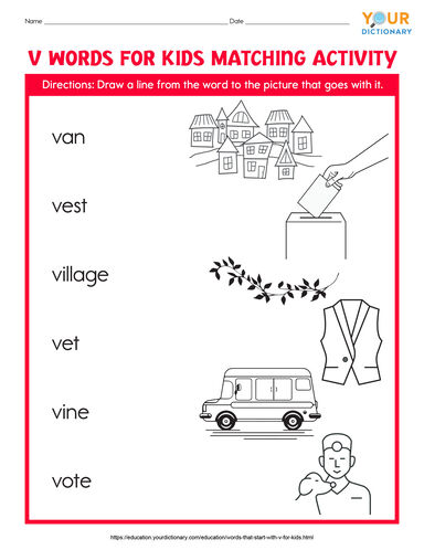 v words for kids matching activity