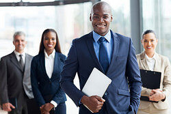 Smiling businessmen as examples of skills