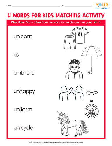 u words for kids matching activity