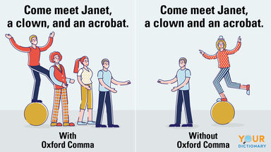 example sentences with and without oxford comma