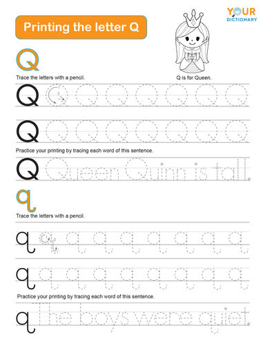tracing the letter q practice worksheet