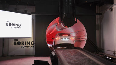 The Boring Co. Hawthorne test tunnel with Tesla car