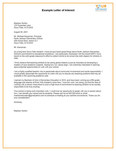 letter of interest printable template