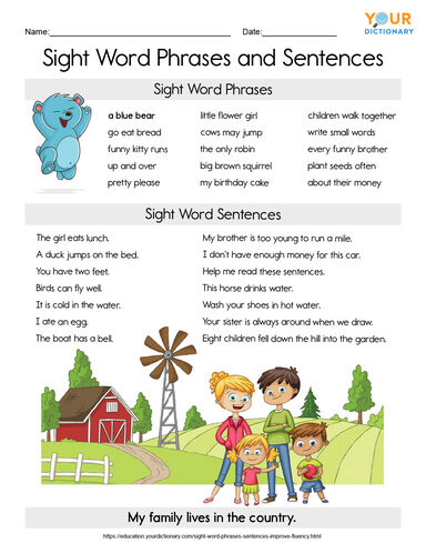 sight word phrases and sentences