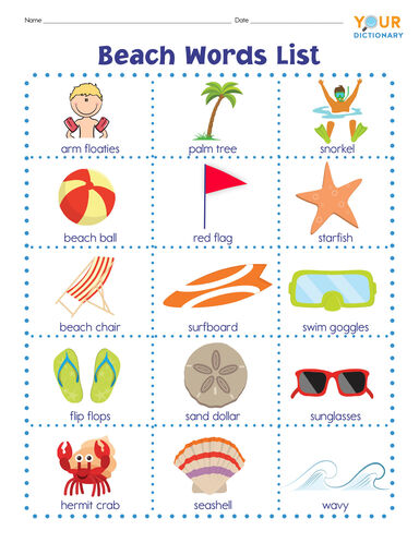 beach words list with pictures
