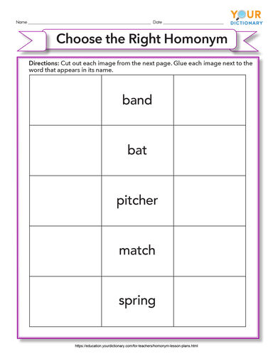choose the right homonym