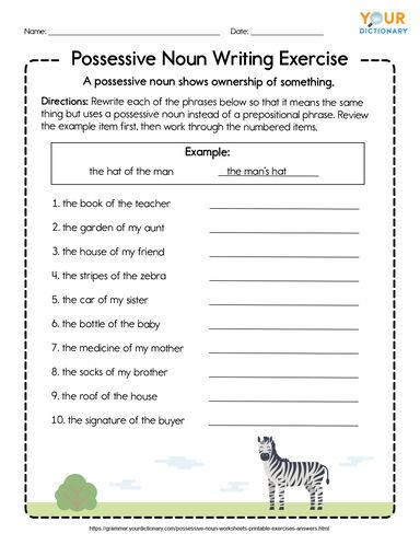 possessive noun writing exercise